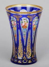 Antique Glass Vases Value Beautiful Antique Bohemian Moser Glass Cobalt Vase 22kt Gold