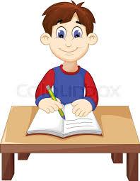 vector illustration of funny boy cartoon writing above a desk