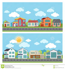 vector banners with cottage houses in flat design stock vector