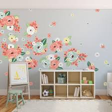 half order multicoloured graphic flowers wall decals urban walls half order multicoloured graphic flowers