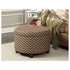 tall brown large round storage ottoman from leather of wonderful