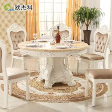 white round dining table set iron wood