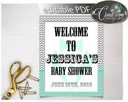 editable welcome baby shower sign little man gentleman mint green