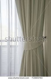 beautiful design solution unusual curtains light stock photo