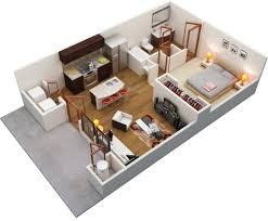 3d Plan 22 Comfortable One Bedroom Apartment Design In 3d Plan