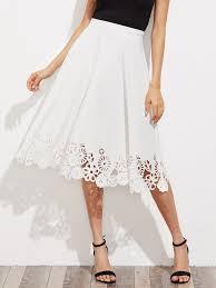 zip back flower laser cut skirt shein sheinside