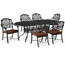 7 Piece Aluminum Patio Dining Set - blue patio dining sets patio dining furniture the home depot
