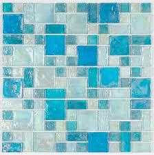 iridescent glass mosaic tile pale blue random blend glass mosaic