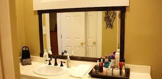 How To Build A Frame Around A Bathroom Mirror Wood Framed Bathroom Mirror Mirror Design