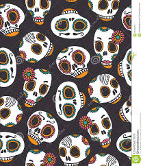 funny seamless scull pattern for halloween and day of the dead