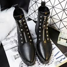 heeled biker boots melanie front zipper studded chain combat biker boots
