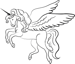 clipart of a lineart unicorn black and white