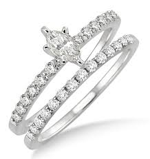 marquise cut wedding set 0 50 carat bridal set with marquise cut in 10k white gold