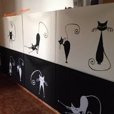 compare prices on free cat stickers online shopping buy low price art cat wall decals set of 5 abstract cat wall stickers modern home decor free