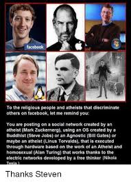 Bill Gates And Steve Jobs Meme - facebook to the religious people and atheists that discriminate