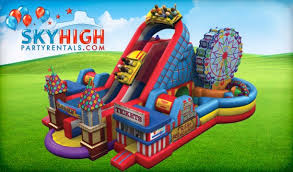 moonwalk rentals houston amusement park obstacle course houston sky high party rentals