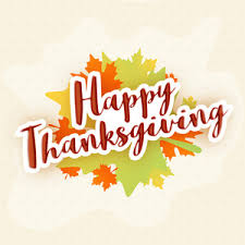 colorful text thank you with maple leaves for happy thanksgiving