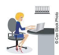 travaux de bureau femme informatique bureau affaires travail illustration