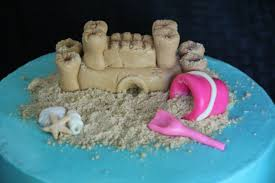 sandcastle and sea shells with bucket and shovel in the sand 8