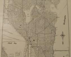 seattle map vintage seattle map etsy