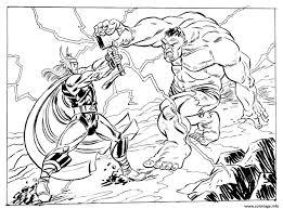 Coloriage avengers thor vs hulk  JeColoriecom