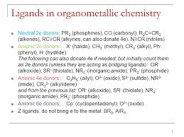 Electron Counting Organometallic Compounds Exles Ligands And Electron Counting In Organometallic Chemistry Ppt