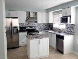 Kitchen Cabinets White Shaker Cabinets U0026 Drawer Dayton Painted White Shaker Cabinets Brick Wall