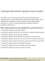 Sample Benefits Specialist Resume Top8legaladministrativespecialistresumesamples 150715045255 Lva1 App6891 Thumbnail 4 Jpg Cb U003d1436936023