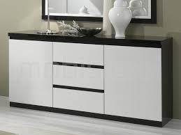 Buffet bahut ROMEO 2 portes et 3 tiroirs noir laque blanc laque