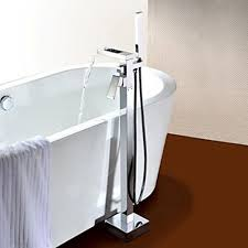 free standing bathtub faucet handle chrome handshower included contemporary ceramic valve floor