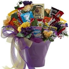happy birthday gift baskets birthday candy chocolate bar and cookie bouquet gift basket