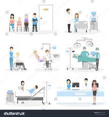 isolated hospital set on white background stock illustration