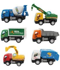 cartoon car back tootpado pull back cartoon toy construction trucks set of 6
