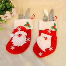 2pcs santa claus gift socks knife and fork bag tree