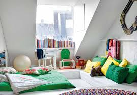 bedroom appealing bay window in the attic round colorful rugs