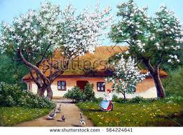 three house landscape river paintings stock illustration