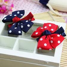 barrettes hair 1pcs design headwear dot bowknot ribbon bow hair