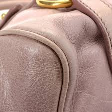 Light Pink Leather Purse Miu Miu Bow Two Way Bag Vitello Lux Leather Lxrandco Pre Owned