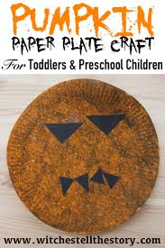 pumpkin paper plate craft for kids witches tell the story