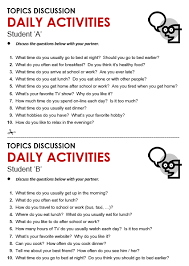daily activities all things topics