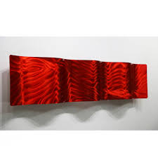 modern abstract metal wall art sculpture home decor red fire