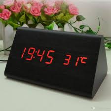 desk alarm clock 2017 wooden desk alarm clock classical triangular blue digital led