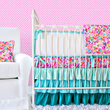 ruffle girls bedding pink and blue baby bedding beautiful pink decoration