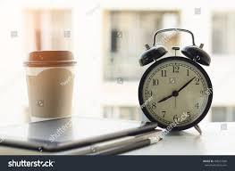 Desk Alarm Clock Alarm Clock Tablet Computer Paper Note Stock Photo 468657830