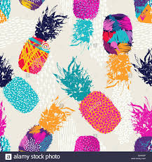 retro summer seamless pattern design pineapple fruit with happy