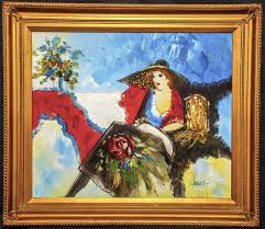 itzchak tarkay abstract painting beautiful vibrant original oil painting after tarkay