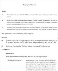 employment contract free template 59 samples csat co