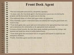 front desk agent duties organigrama de funciones en front desk