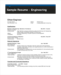 Sample Resume For Engineering Student by Sample Engineering Cv 7 Documents In Pdf Word
