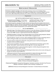 resume exles for restaurant restaurant manager resume sle